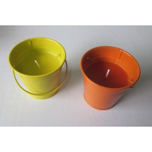 colored bucket candle